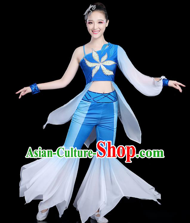 Traditional Chinese Classical Dance Blue Uniform Fan Dance Costume, China Yangko Folk Umbrella Dance Clothing for Women