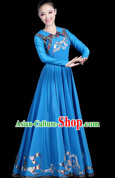 Traditional Chinese Mongol Nationality Dance Costume, Chinese Mongolian Minority Folk Dance Embroidery Blue Dress Clothing for Women