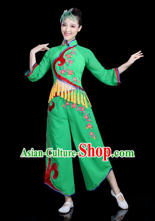 Traditional Chinese Yangge Fan Dance Green Costume, China Classical Folk Dance Yangko Umbrella Dance Clothing for Women