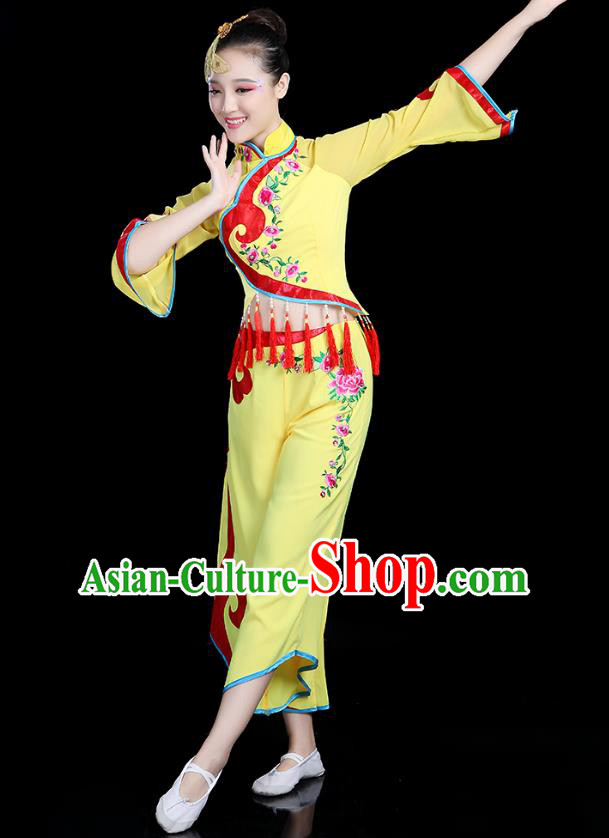 Traditional Chinese Yangge Fan Dance Yellow Costume, China Classical Folk Dance Yangko Drum Dance Clothing for Women