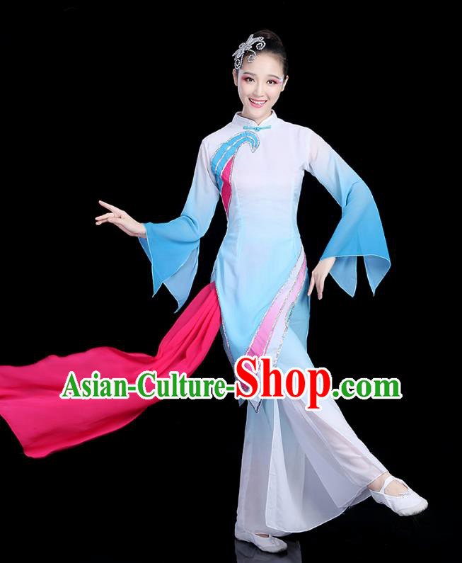 Traditional Chinese Yangge Fan Dance Costume, China Classical Folk Dance Yangko Umbrella Dance Blue Clothing for Women