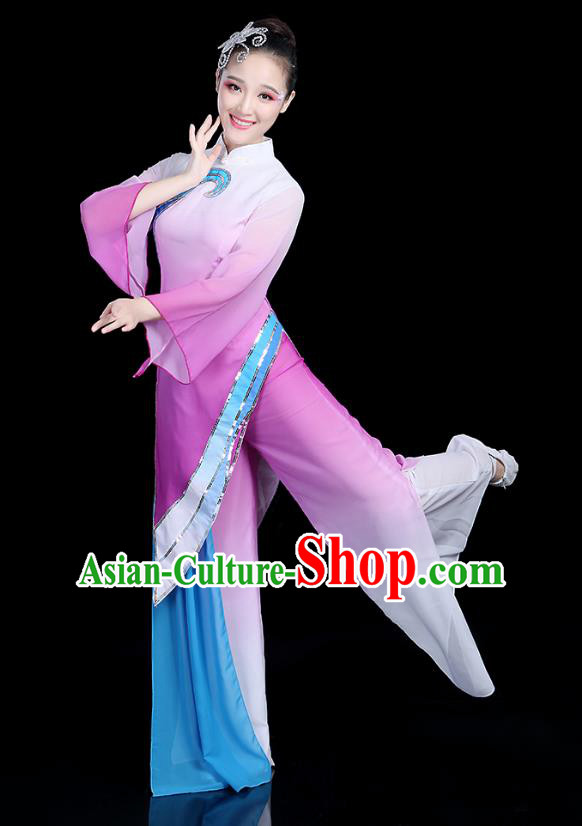 Traditional Chinese Yangge Fan Dance Costume, China Classical Folk Dance Yangko Umbrella Dance Purple Clothing for Women