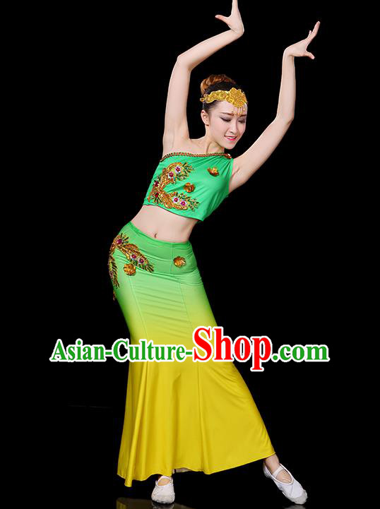 Traditional Chinese Dai Nationality Peacock Dance Costume Folk Dance Pavane Clothing for Women