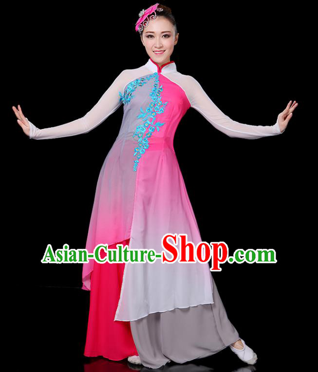 Traditional Chinese Yangge Fan Dance Embroidered Pink Uniform, China Classical Folk Yangko Umbrella Dance Clothing for Women