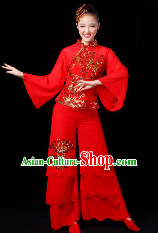 Traditional Chinese Yangge Fan Dance Embroidered Red Uniform, China Classical Folk Yangko Umbrella Dance Clothing for Women
