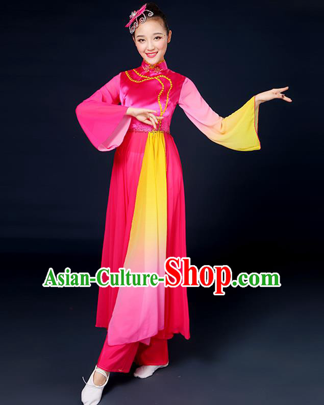 Traditional Chinese Yangge Fan Dance Embroidered Rosy Dress, China Classical Folk Yangko Umbrella Dance Clothing for Women