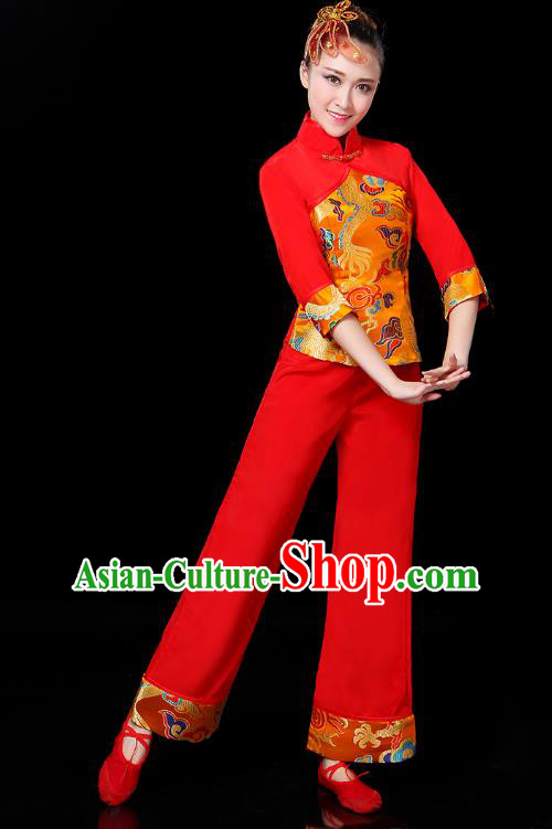 Traditional Chinese Yangge Fan Dance Costume, China Classical Folk Dance Yangko Drum Dance Clothing for Women