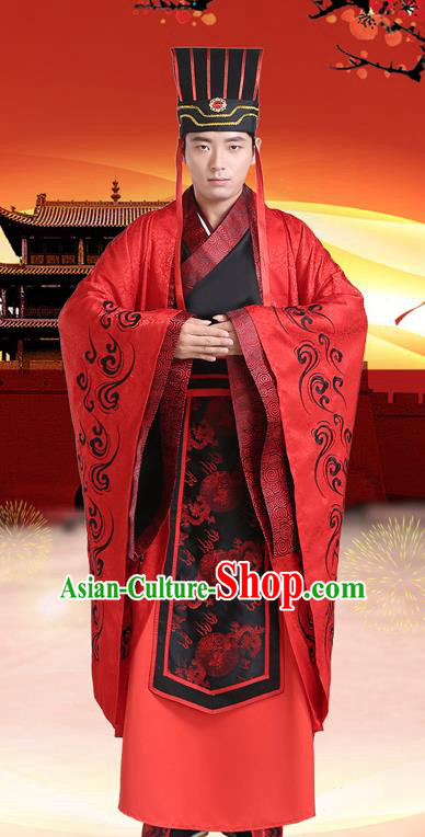 Traditional Chinese Han Dynasty Embroidered Wedding Costume, China Ancient Bridegroom Hanfu Clothing for Men