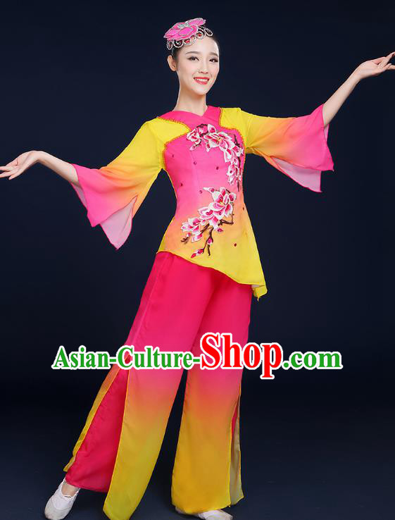 Traditional Chinese Folk Fan Dance Classical Dance Pink Uniform, China Yangko Drum Dance Clothing for Women