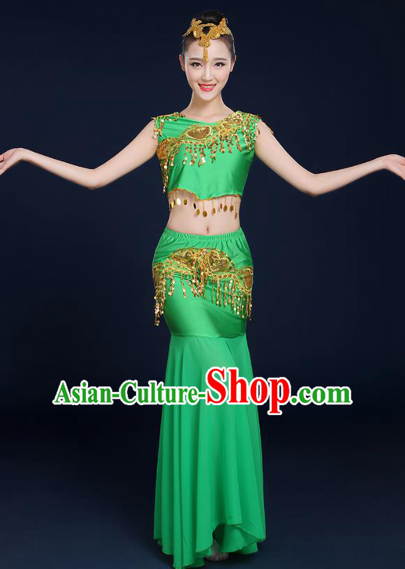 Traditional Chinese Dai Nationality Peacock Dance Costume, China Folk Dance Pavane Green Dress for Women