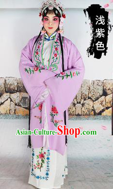Chinese Beijing Opera Actress Costume Lilac Embroidered Cape, Traditional China Peking Opera Diva Embroidery Clothing