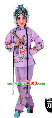 Chinese Beijing Opera Actress Embroidered Peony Costume, China Peking Opera Servant Girl Embroidery Purple Clothing