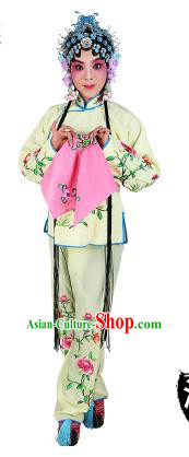 Chinese Beijing Opera Actress Embroidered Peony Costume, China Peking Opera Servant Girl Embroidery Light Yellow Clothing