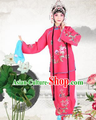 Chinese Beijing Opera Servant Girl Embroidered Rosy Costume, China Peking Opera Actress Embroidery Clothing