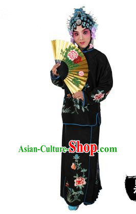 Chinese Beijing Opera Servant Girl Embroidered Black Costume, China Peking Opera Actress Embroidery Clothing