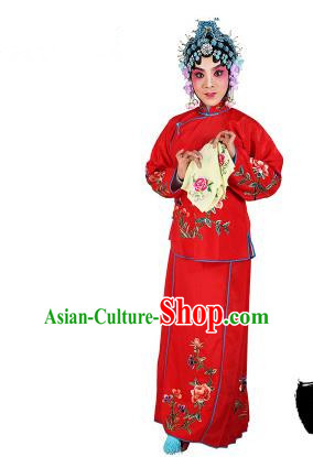 Chinese Beijing Opera Servant Girl Embroidered Red Costume, China Peking Opera Actress Embroidery Clothing