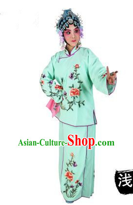 Chinese Beijing Opera Servant Girl Embroidered Green Costume, China Peking Opera Actress Embroidery Clothing
