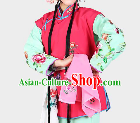 Chinese Beijing Opera Servant Girl Costume Embroidered Rosy Vest, China Peking Opera Actress Embroidery Waistcoat Clothing