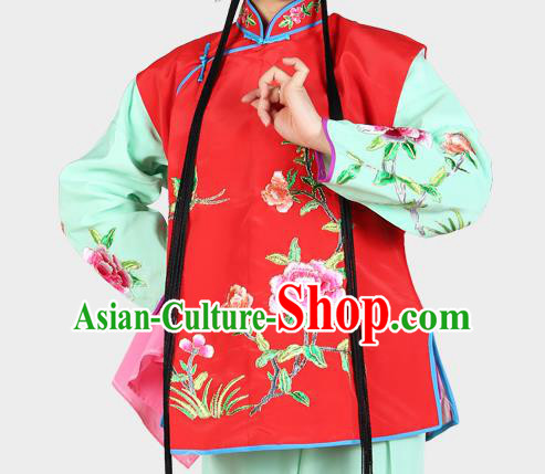 Chinese Beijing Opera Servant Girl Costume Embroidered Red Vest, China Peking Opera Actress Embroidery Waistcoat Clothing