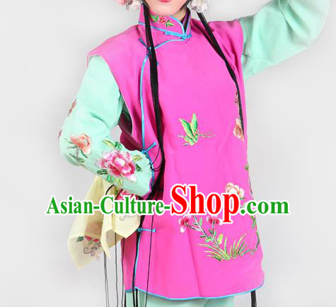 Chinese Beijing Opera Servant Girl Costume Embroidered Pink Mauve Vest, China Peking Opera Actress Embroidery Waistcoat Clothing