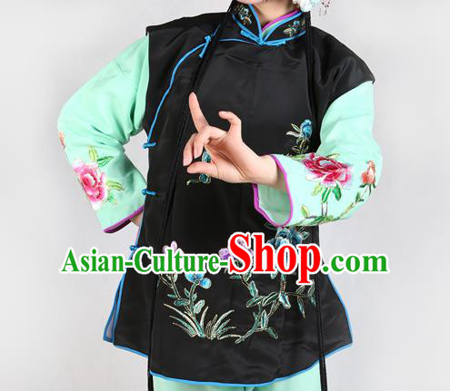 Chinese Beijing Opera Servant Girl Costume Embroidered Black Vest, China Peking Opera Actress Embroidery Waistcoat Clothing