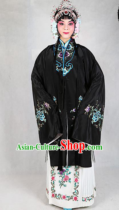Chinese Beijing Opera Actress Embroidered Peony Black Costume, Traditional China Peking Opera Diva Embroidery Clothing