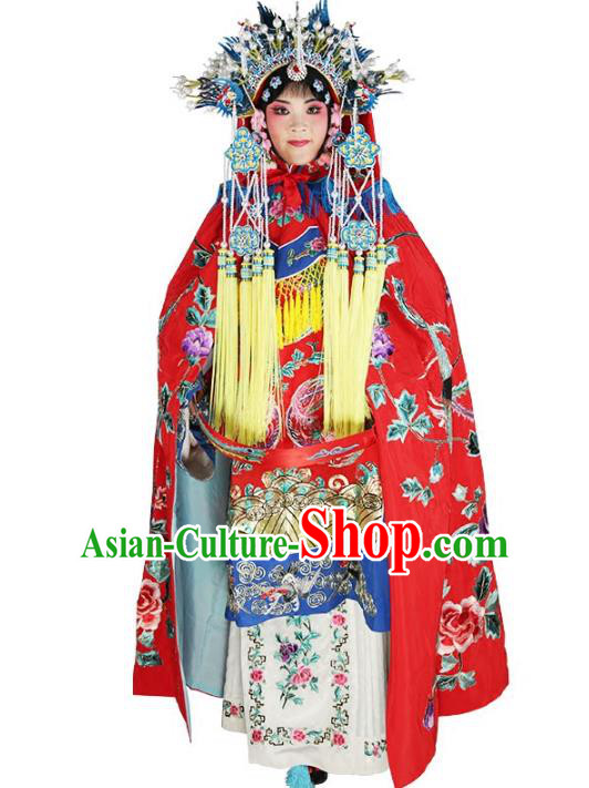 Chinese Beijing Opera Imperial Empress Costume Embroidered Cloak, China Peking Opera Actress Embroidery Cape Clothing