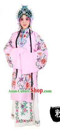 Chinese Beijing Opera Young Lady Embroidered Peony Costume, China Peking Opera Actress Embroidery Pink Clothing