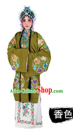 Chinese Beijing Opera Young Lady Embroidered Peony Costume, China Peking Opera Actress Embroidery Green Clothing