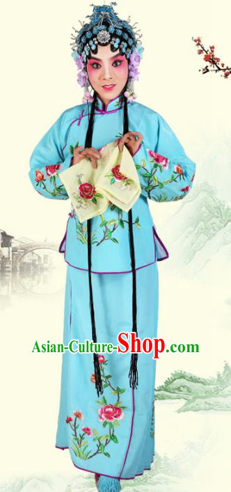 Chinese Beijing Opera Actress Embroidered Peony Costume, China Peking Opera Servant Girl Embroidery Blue Clothing