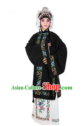 Chinese Beijing Opera Actress Costume Embroidered Black Cape, Traditional China Peking Opera Nobility Lady Embroidery Clothing