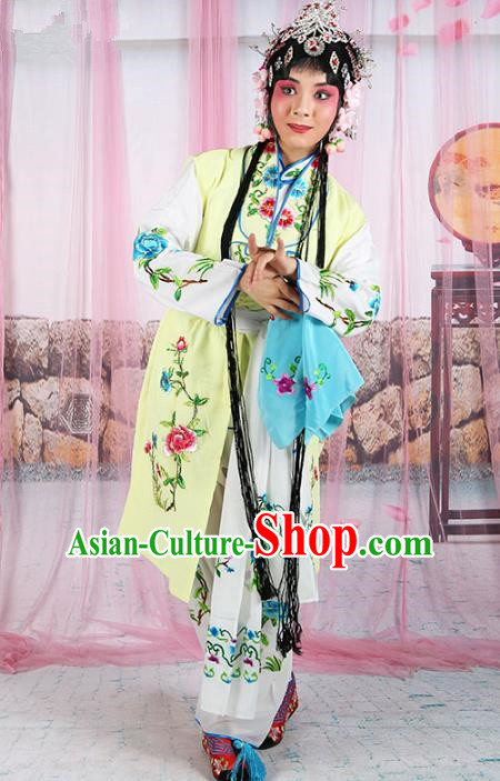 Chinese Beijing Opera Actress Young Lady Embroidered Yellow Costume, China Peking Opera Servant Girl Embroidery Clothing