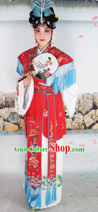 Chinese Beijing Opera Actress Nobility Lady Embroidered Red Costume, China Peking Opera Princess Embroidery Clothing