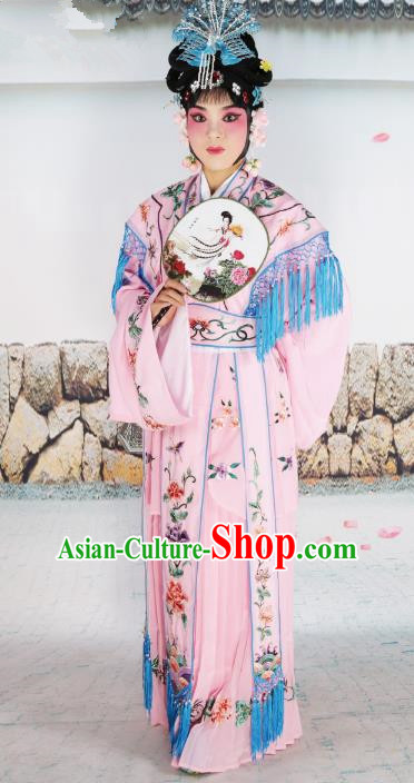 Chinese Beijing Opera Actress Nobility Lady Embroidered Pink Costume, China Peking Opera Princess Embroidery Clothing