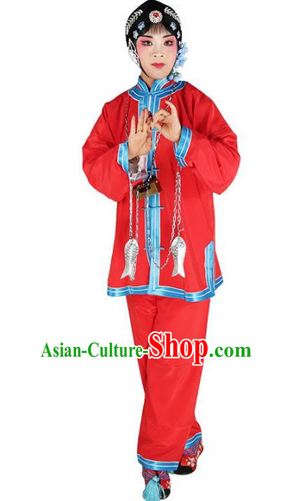 Chinese Beijing Opera Offendress Red Costume, China Peking Opera Young Lady Embroidery Clothing