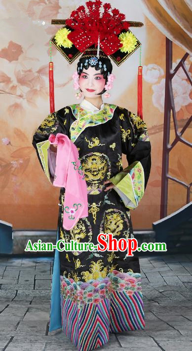 Chinese Beijing Opera Actress Black Embroidered Costume, China Peking Opera Qing Dynasty Manchu Princess Embroidery Clothing