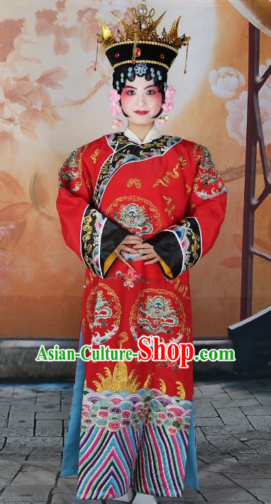 Chinese Beijing Opera Actress Red Embroidered Costume, China Peking Opera Qing Dynasty Manchu Queen Embroidery Clothing
