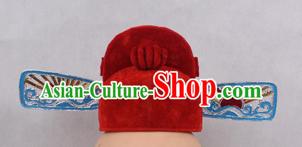Asian Chinese Beijing Opera County Magistrate Red Hats, Traditional China Peking Opera Lang Scholar Headwear