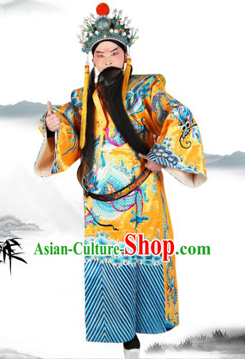 Chinese Beijing Opera Royal Highness Costume Yellow Embroidered Robe, China Peking Opera Prime Minister Embroidery Gwanbok Clothing
