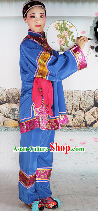 Chinese Beijing Opera Pantaloon Embroidered Blue Costume, China Peking Opera Landlord Shiva Embroidery Clothing