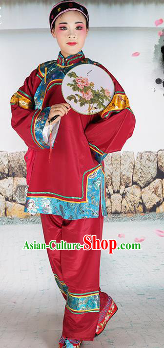 Chinese Beijing Opera Pantaloon Embroidered Red Costume, China Peking Opera Landlord Shiva Embroidery Clothing