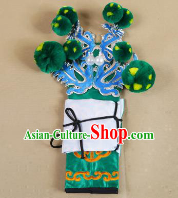 Asian Chinese Beijing Opera Takefu Green Hats, Traditional China Peking Opera Martial Role Warrior Headwear