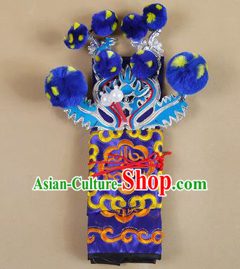 Asian Chinese Beijing Opera Takefu Royalblue Hats, Traditional China Peking Opera Martial Role Warrior Headwear