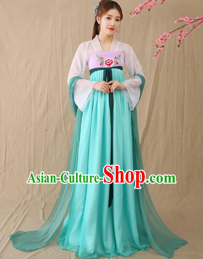 Traditional Chinese Han Dynasty Imperial Princess Costume, China Ancient Palace Lady Embroidered Hanfu Clothing for Women