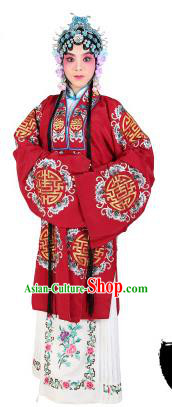 Chinese Beijing Opera Actress Embroidered Wine Red Costume, China Peking Opera Diva Embroidery Clothing