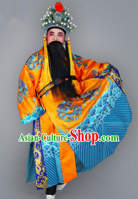Chinese Beijing Opera Royal Highness Costume Dragons Embroidered Robe, China Peking Opera Prime Minister Yellow Gwanbok Clothing