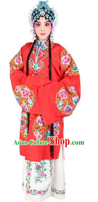 Chinese Beijing Opera Actress Embroidered Peony Flowers Red Costume, China Peking Opera Diva Embroidery Clothing