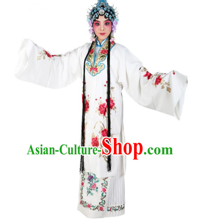 Chinese Beijing Opera Actress Nobility Lady Embroidered White Costume, China Peking Opera Embroidery Clothing