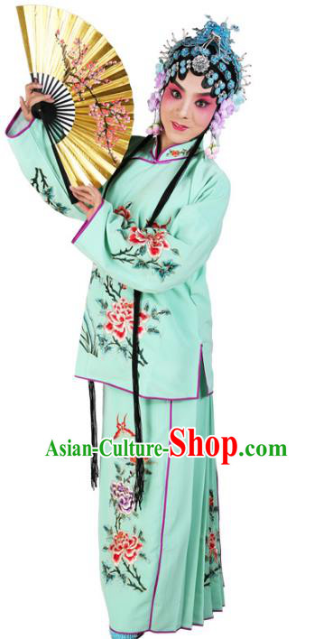 Chinese Beijing Opera Actress Young Lady Embroidered Green Costume, China Peking Opera Embroidery Clothing