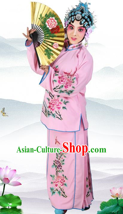 Chinese Beijing Opera Actress Young Lady Embroidered Pink Costume, China Peking Opera Embroidery Clothing